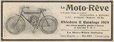 Y7927 Bicicletta a motore MOTO-REVE 2 HP - Pubblicità d'epoca - 1909 Old advert