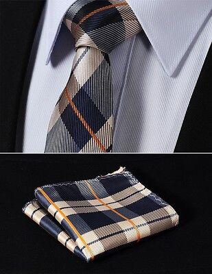 "TC4030Z7 Navy Blue Orange Check 2.75"" Silk Slim Narrow Men Tie Pocket Square Set"