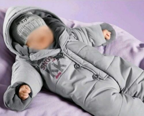 NEU Klitzeklein grau Baby Schneeanzug 68 74 Jungen Mädchen