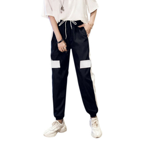 Women Korean Fashion Cropped Casual Pants Slim Loose Trousers Solid Sports Pants