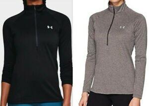 Under-Armour-HeatGear-UA-Tech-1-2-Zip-Womens-LS-Top-1320126-Black-or-Grey-S-XXL