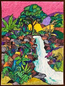 Colorido Vintage Anos 80 Desenho A Tinta Paisagem Cachoeira Retro