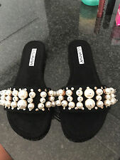 NEW Liliana Pearl Stud Slide Sandals Forever 21 Black Size 9 FREE SHIPPING!