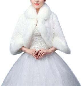 White-Faux-Fur-Wrap-Jacket-Bolero-Shawl-Shrug-Cape-Bridal-amp-Wedding-Formal-Party