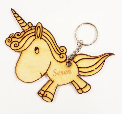 Personalised Keyring Kids Wooden Engraved Key Ring Book Bag Name Tag Childrens