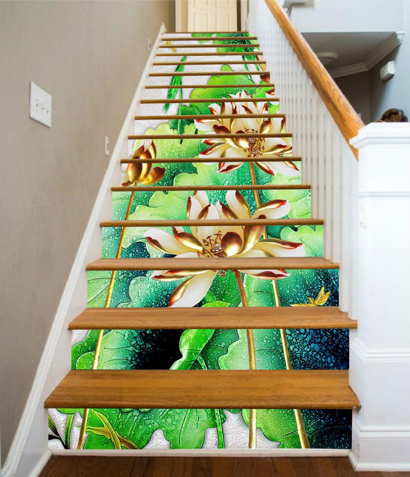 3D Lotos Muster 215 Stair Risers Dekoration Fototapete Vinyl Aufkleber Tapete DE