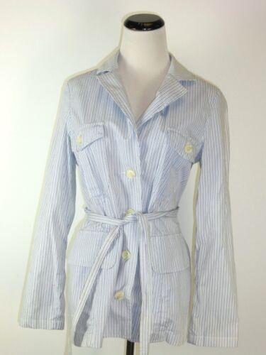 Cotton Blue 2 Perse Stripe Coat Jacket James Belt Top M vp5qtwZx