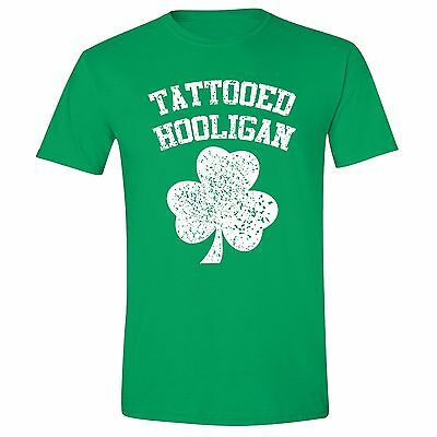 Men S St Patrick S Day Clover Shamrock Tattooed Hooligan Unisex T Shirt Green Ebay