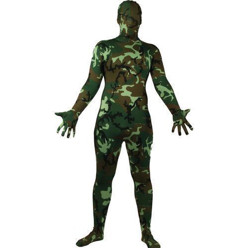 Camouflage Bodysuit Skinz Fancy Dress Military Army Uniform Skin Suit  Costume