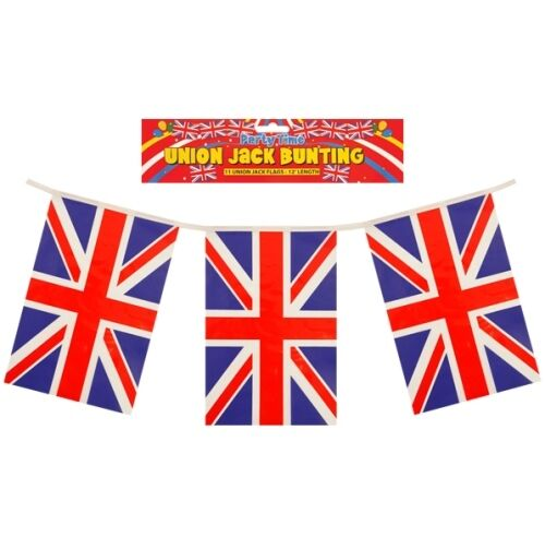 Union Jack Red White & Blue Square Shaped Bunting 11 Flags 12 Feet Long