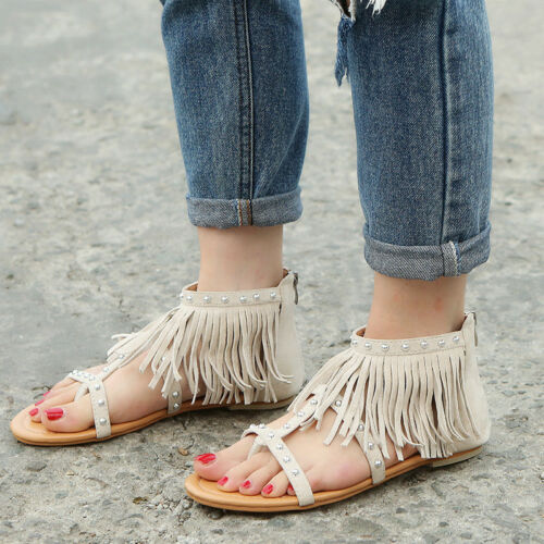 Damen Gladiators Flache Sandalen Riemchen Sandals Sommerschuhe Sandaletten DE