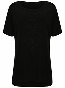 Ladies-Plus-Size-Evans-T-Shirt-Textured-Bead-Front-Large-Big-Ex-Store-New-Black