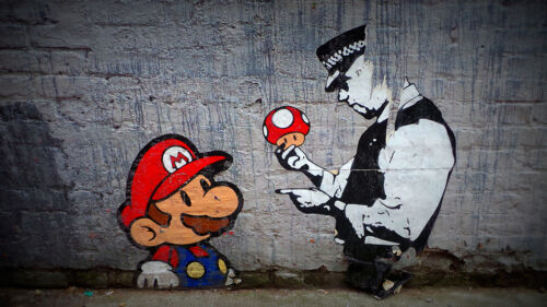 A1 SIZE CANVAS PRINT BANKSY MARIO BROTHER POLICE  UK GRAFFITI STREET ART