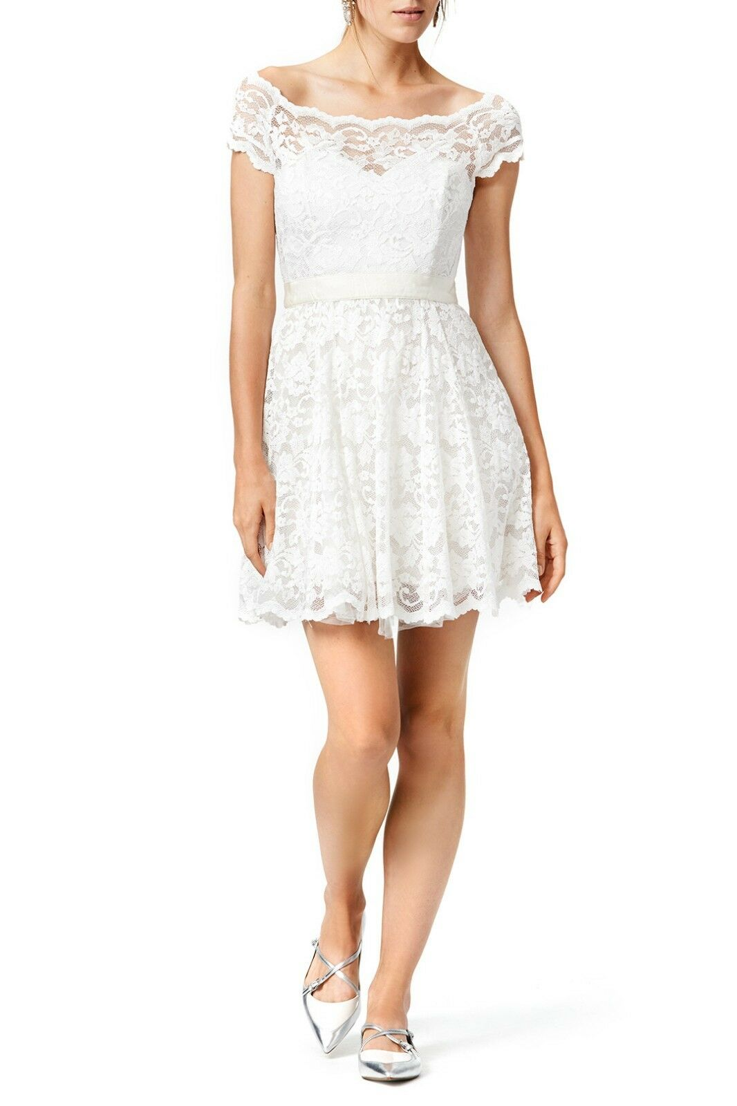 Badgley Mischka Vision In White Lace Dress Size 2