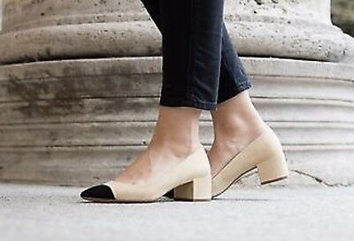 894a5db71b6e NWT ZARA AW16 MID-HEEL SHOES WITH CONTRASTING TOE CAP TAN AND BLACK PUMPS