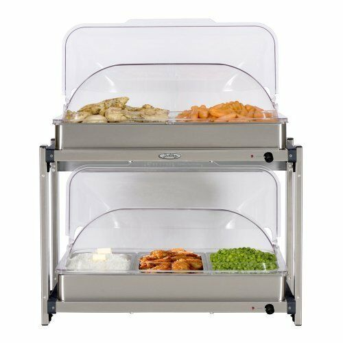 BroilKing Professional Multi-Level Buffet Server w  Stainless Base & Rolltop Lid
