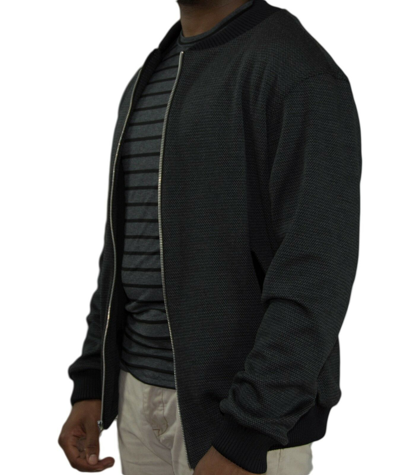 Men's Grey Wool Knit Bomber - Size Medium and Large