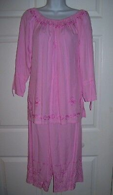 Kapal Women's Medium Pink Top & Capri Pants Set Casual Embroidery Trim Nwt Other Women's Clothing Clothing, Shoes & Accessories