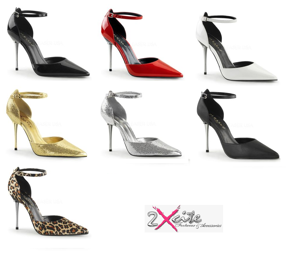 PLEASER APPEAL 12 4  METAL STILETTO HIGH HEEL ANKLE STRAP POINTED COURT schuhe