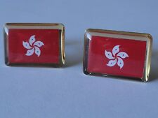 Hong Kong Flag Cufflinks--China Chinese Cantonese Canton Asia East Asian