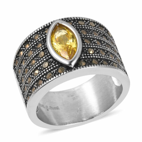 Stainless Steel Yellow Cubic Zirconia CZ Marcasite Black Oxidized Ring Size 8