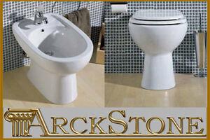 Arckstone igienici sanitari bagno wc vaso e bidet ceramica bianco