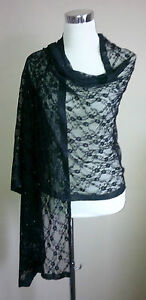 Black-Lace-Shawl-Large-Wrap-Stole-Bolero-Pashmina-Tippet-Wedding-Bridal-Floral