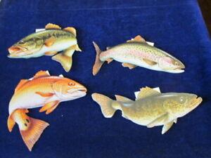 PüNktlich Gestanzt Karton Fisch Angelzubehör Forelle Barsch Walleye Schild 4 St Menge Blinker & Spoons