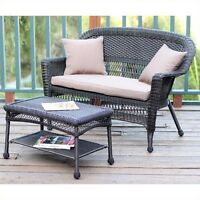 Jeco Wicker Patio Love Seat And Coffee Table Set In Espresso With Brown Cushion on sale