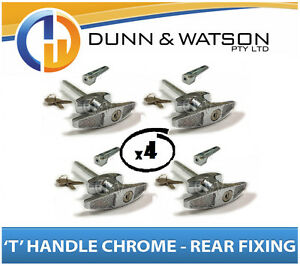 Chrome Plated Rear Fixing 'T' Lock / Handle (Trailer Caravan Canopy Toolbox) x4