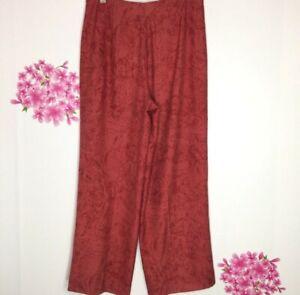 Tommy-Bahama-Women-039-s-100-Silk-Wide-Leg-Pants-Size-8-Tropical-print-Tie-Front