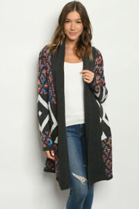 New-Northern-Angel-Boho-Colorful-Long-Sleeve-Western-Sweater-Duster-Cardigan-S-L