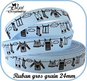 RUBAN-GROS-GRAIN-BLEU-NOIR-COUTURE-SCRAPBOOKING-NAISSANCE-GARCON-LINGE-NUAGE-24