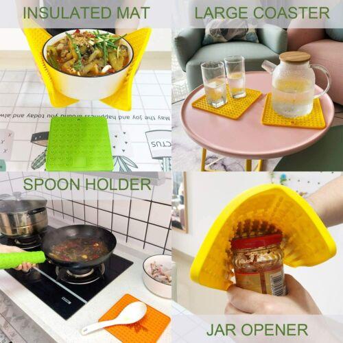 Silicone Trivet Mats * Hot Pads Jar Opener* Set of 2 Pot Holders Spoon Rest