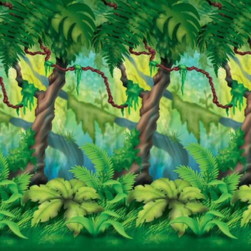 "Jungle Trees Plastic Backdrop 48/"" x 30/' Safari Jungle Zoo Birthday Party"