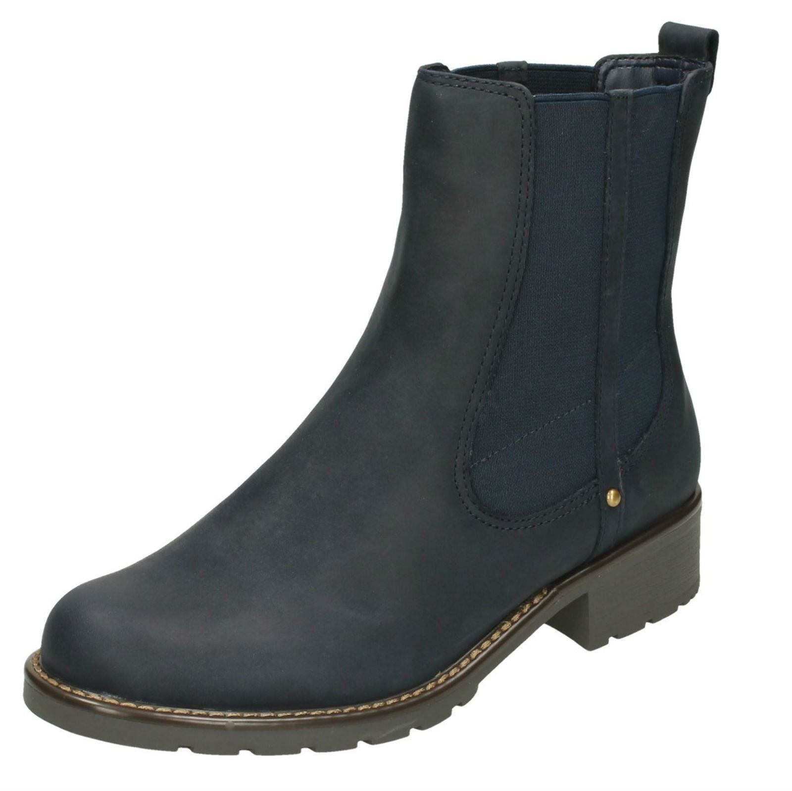 Ladies Clarks Orinoco Club Navy Leather Casual Pull On Ankle Boots