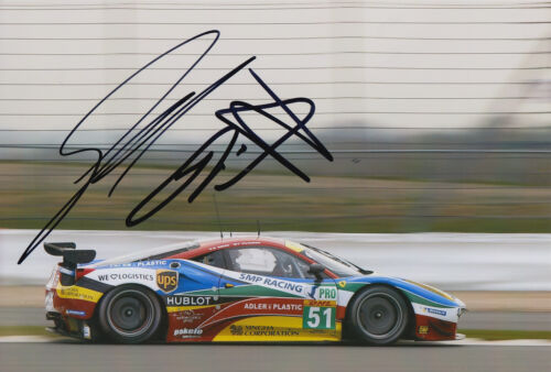 Gianmaria Bruni, Toni Vilander Ferrari Hand Signed 7x5 Photo 2015 Le Mans 5.