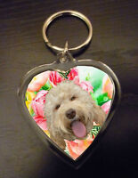 Labradoodle Gift Keyring Heart Key Ring Light & Dark Labradoodles Valentine
