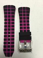 Authentic Technomarine Pink & Black Checkered Staps With Silver Buckle 45mm