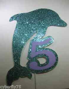Glitter Dolphin Cake Topper with Birthday number or first