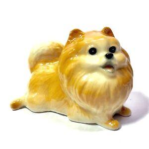 Miniature Laying Pomeranian Statue Ceramic Animal Figurine Dog