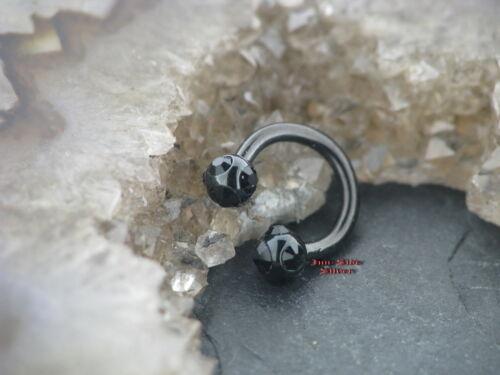 Schwarzer Circular Barbell Ohrring Ohrschmuck Nase Helix Tragus SEPTUM Lippe