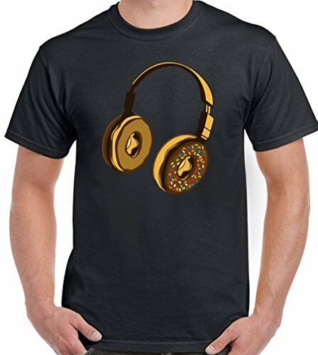 Mens Funny T-Shirt Donut Headphones