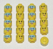 LEGO LOT OF 20 NEW DUAL SIDED FEMALE MINIFIGURE GIRL HEADS WITH VISOR