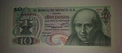 Choice Uncirculated Condition !! P-63b 3-dic-1969 Mexico Diez Pesos Banknote