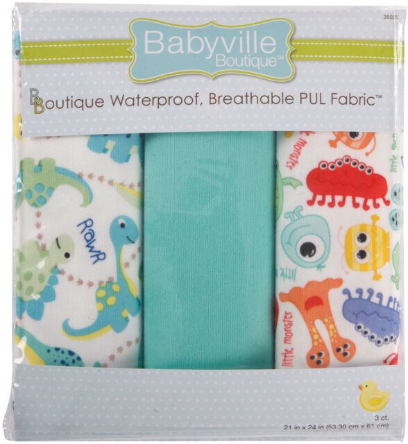 "Babyville PUL Waterproof Diaper Fabric 21""X24"" Cuts 3/Pkg-Dinos & Monsters"