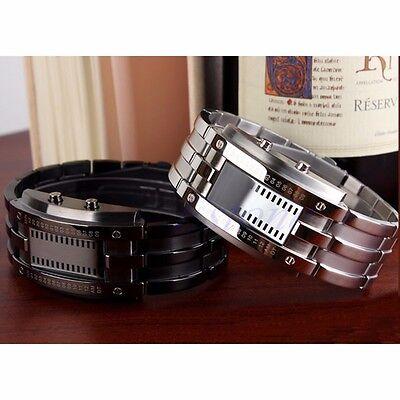 New Luxury Men Women Black Stainless Steel Date Digital LED Bracelet Sport Watch