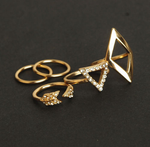 5pcs Mid Midi Above Knuckle Ring Band Gold Silver Tip Finger Stacking