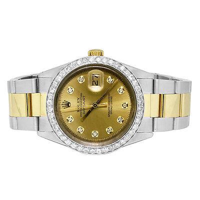 Rolex Datejust 2 Tone 36MM 18K Stainless Steel Champagne Diamond Watch 2.5 Ct