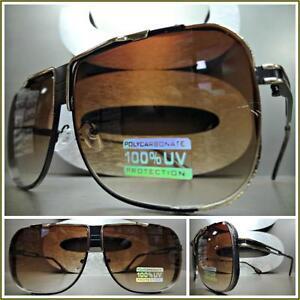 Mens CLASSIC VINTAGE RETRO Style SUN GLASSES Matte Black & Gold Frame Brown Lens